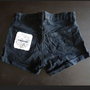 Grindcore Carcass Black Jean Short Shorts Patched
